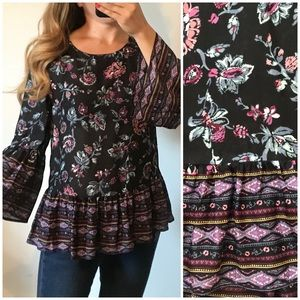 BEACHLUNCHLOUNGE Floral Boho Flare Sleeve Top Med